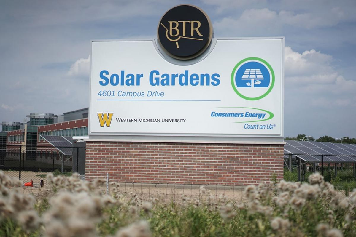Consumers Energy has developed Solar Gardens at Grand Valley State University and at Western Michigan University (pictured) that can supply 4 megawatts of power to companies opting to source their electricity from renewable sources.