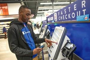 The new Shop & Scan option from Meijer allows customers to register and bag items as they go and pay when leaving the store.