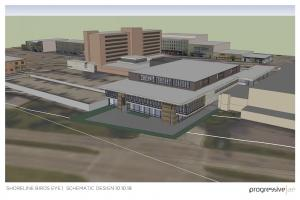 This rendering shows the concept for the planned convention center in downtown Muskegon.