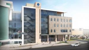 Rendering of the five-story, 160,000-square-foot Daniel and Pamella DeVos Center for Interprofessional Health that will be built at GVSU in Grand Rapids.