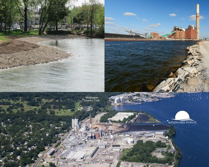 (top left) Partners worked to remove hard barriers along the Muskegon Lake shoreline. (top right) Muskegon's former Sappi Paper site is being converted into a mixed-use waterfront community. (bottom) Forsite Development will soon tear down the B.C. Cobb power plant on Muskegon Lake.
