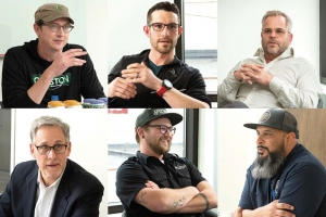 Top (left to right): Vincent Lambert, co-founder of Grand Rapids-based Creston Brewery; Michael Brower, co-founder of Muskegon-based Pigeon Hill Brewing Co. LLC; Mike Stevens, co-founder and CEO of Grand Rapids-based Founders Brewing Co. Bottom (left to right): Chris Baker, partner at Varnum LLP; Mitch Ermatinger, co-founder of Comstock Park-based Speciation Artisan Ales LLC; Edwin Collazo, co-founder of City Built Brewing Co. in Grand Rapids.