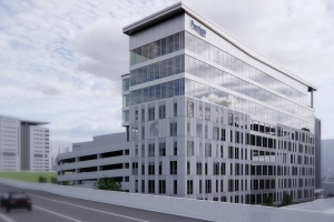 A rendering of Perrigo's planned headquarters in downtown  Grand Rapids.