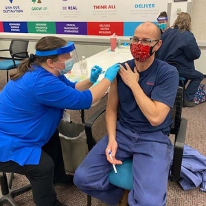 DENSO Corp.'s onsite vaccination clinic in Battle Creek last week.