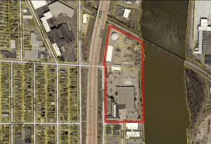 The red lines mark the 14.2-acre site owned by the Kent County Road Commission, which is seeking bids for the property.
