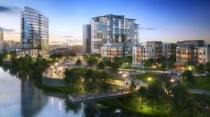 The Flaherty & Collins proposal for city-owned property at 201 Market Ave. in Grand Rapids includes plans for up to four buildings — including a riverfront hotel — plus riverfront green space, and various housing units.