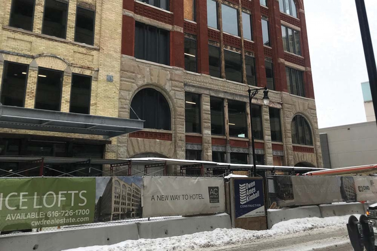 Crews continue to prep the building at 50 Monroe NW in downtown Grand Rapids for a new 130-room AC Hotel by Marriott.