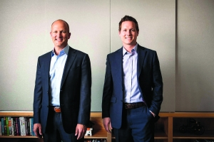 Grand Ventures principals McKeel Hagerty, left, and Tim Streit, right, formed the Grand Rapids-based venture capital firm to invest in technology companies across the Midwest.
